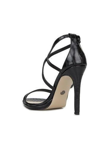 Divarese Divarese 5025375 Krokodil Dokulu Kadın Sandalet Siyah